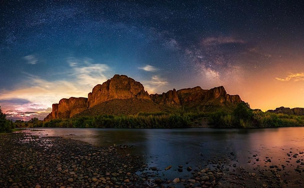 "to be featured!  REPOST: @tyskiphoto ""Battle of Light""  Milky Way arching over the light polluted Salt River during a rising full moon, and a storm in the distance... what a night!???? Photo details:  Canon 6D w/24mm f/1.4