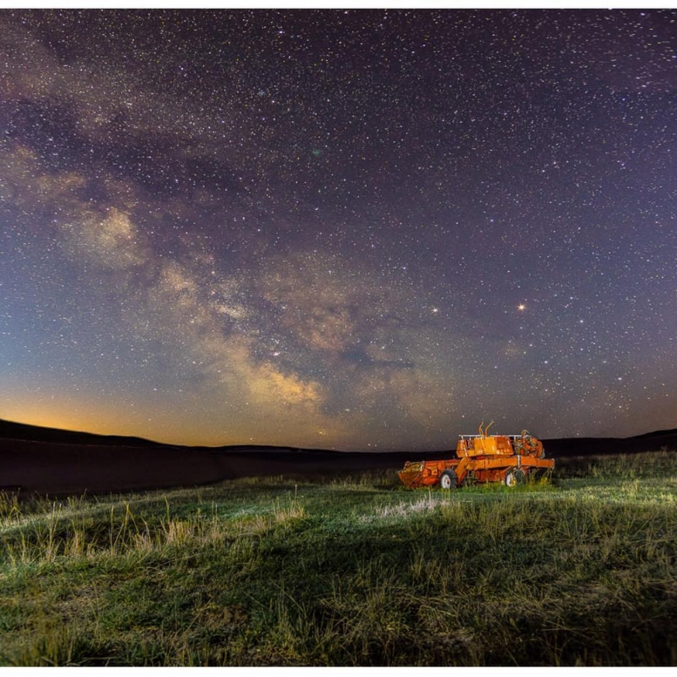 REPOST: @g.m.photography.ca to be featured! Tag a friend who might enjoy this photo and this milky way journey!  From Greg about this Image:  This is one of my favorite locations. It is on a private ranch that graciously told me about the location, how to get here and that I was allowed to photograph it on a continuing basis, all I do is share the digital images with them.  So the process: it's taken with a Pentax K3II. I took one shot of the foreground, while light painting it just to bring out some more detail, and then I turn on my GPS, switch to bulb mode and turn on astrotracing and track the sky, in this case for 170s. Details of the photo: ISO 1600, sky tracked for 170s x 2 shots (horizontals stacked vertically), foreground untracked for 67s, same ISO and focal length. Panorama of sky put together in Lightroom, edited to taste, then combined the foreground and sky in affinity. It's a complicated process but a fun one. Favourite milkyway shot? Either this one or another from the same area of an old barn, taken last year.  Original Post:  Old machine Milky Way @tourismkamloops @hellobc @ricohpentax